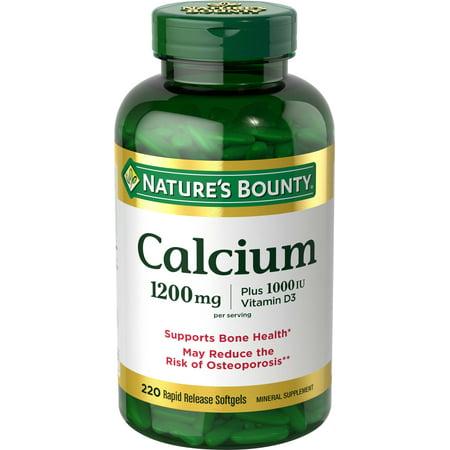 Fiber Supplement Plus Calcium - Nature's Bounty Calcium Plus Vitamin D3 Softgels, 1200mg, 220 Ct