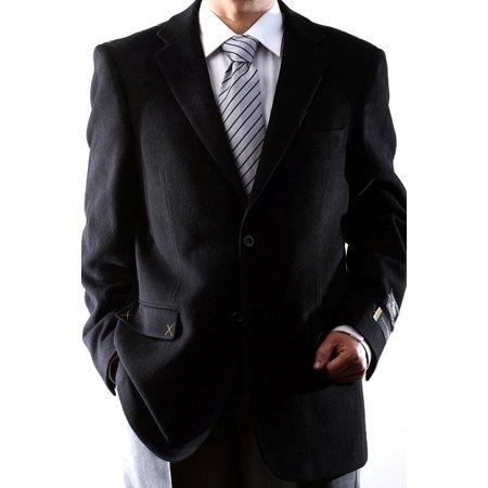 Men's 2 Button Luxury Wool Cashmere Black Sport Coat 40R