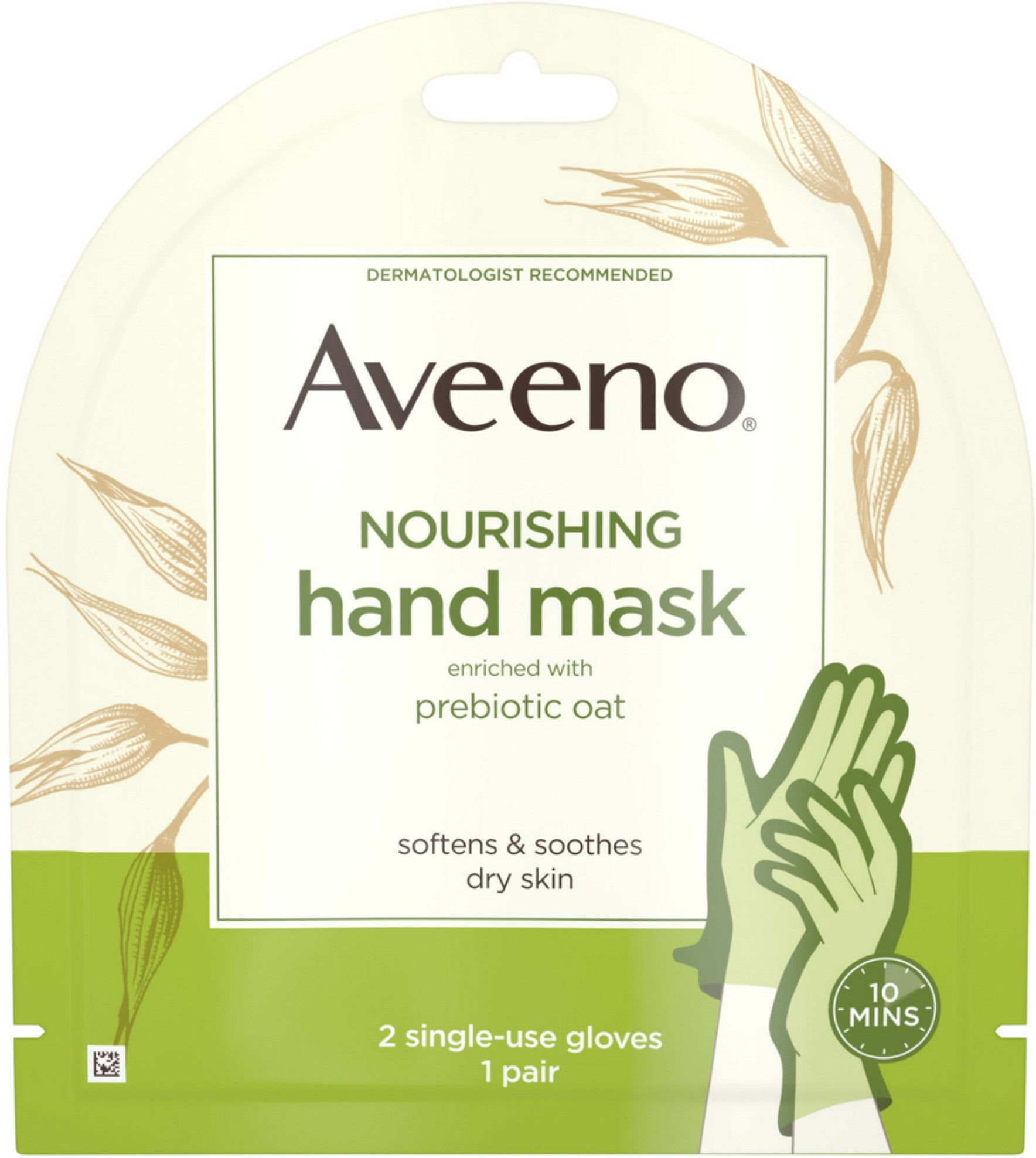 4 Pack - Aveeno  Nourishing Hand Therapy Mask Moisturizing formula with Prebiotic Oat for Dry Skin, Fragrance-Free and P