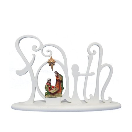 Faux Tabletops - Light Up Nativity Collection on Faith Faux Wood Carving Tabletop Décor, Measures Approx: 10