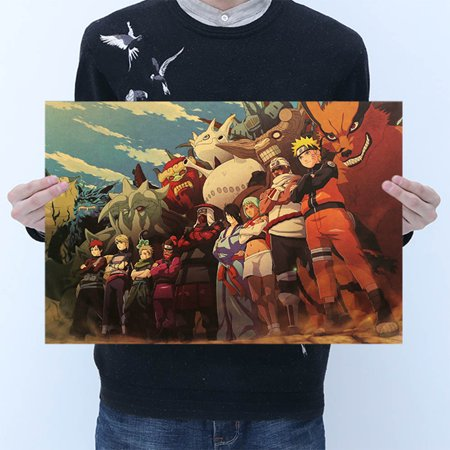 Fancyleo Vintage Cartoon Anime Naruto Poster Bar Kids Decor Comics Naruto Retro Kraft Paper -