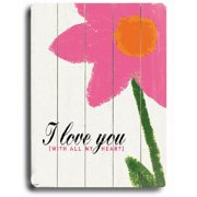 ArteHouse 0003-9052-26 Love You-Pink on White Vintage Sign
