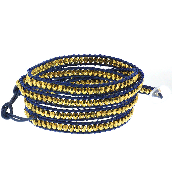 "36"" Cross Cut Golden Beads on Blue Leather Wrap Bracelet with Clear White Button"