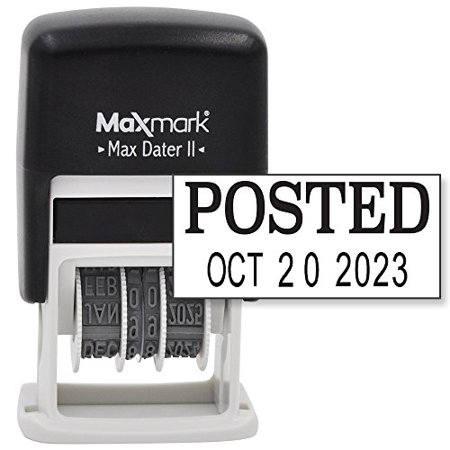 Maxmark Self Inking Rubber Date Office Stamp With Posted Phrase   Date   Black Ink  Max Dater Ii   12 Year Band