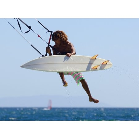 Man Kitesurfing Canvas Art - Ben Welsh Design Pics (16 x 12)