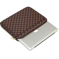 Daisy Rose Checkered Protective Laptop Sleeve case For 13-Inch MacBook pro with slip pocket - Luxury PU Vegan Leather (Brown)