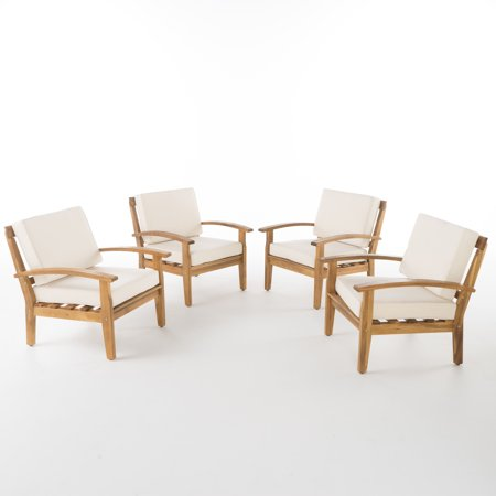 La Vista Outdoor Wooden Club Chairs w/ Cushions, Set of 4, Beige ()