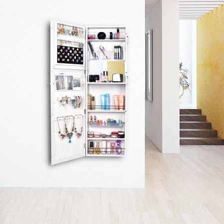Ktaxon Lockable Mirrored Jewelry Wall Cabinet Armoire Mirror Hang Organizer Storage Box ()