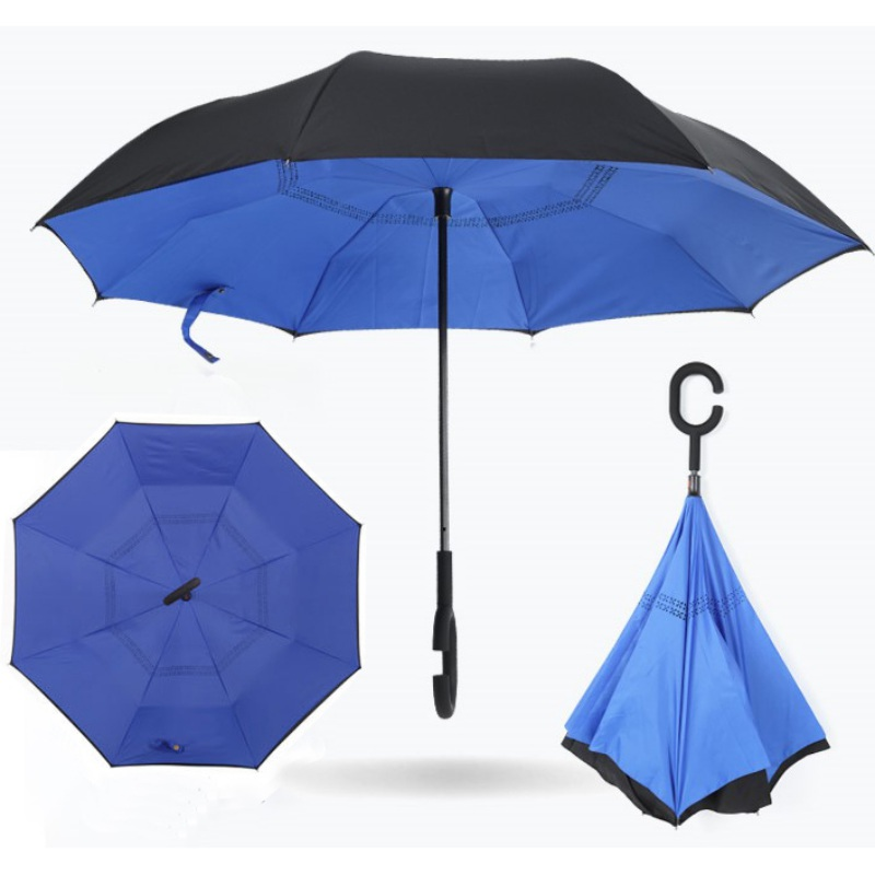 Upside Down Umbrellas with C-Shaped Handle for Women and Men Double Layer Inside Out Folding Umbrella Reverse Inverted Windproof Funny Cats Umbrella