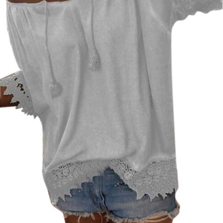 Nomeni Women Casual V-Neck Solid Lace Patchwork Short Sleeve Blouse Shirt Tops