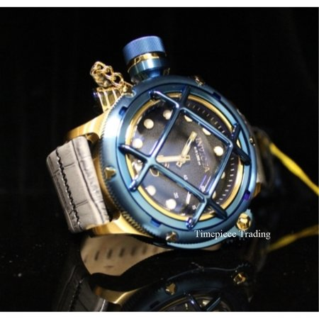 Invicta Russian Diver LEFTY Mechanical ETA Black Dial Grey Leather Men's Watch