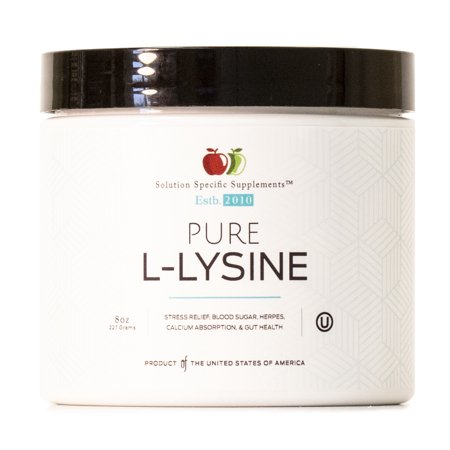 - L-Lysine Bulk Powder Supplement - Bulk L-Lysine 8oz ( 227g ) 140 Servings for Stress, Calcium Absorption, & Gut Health