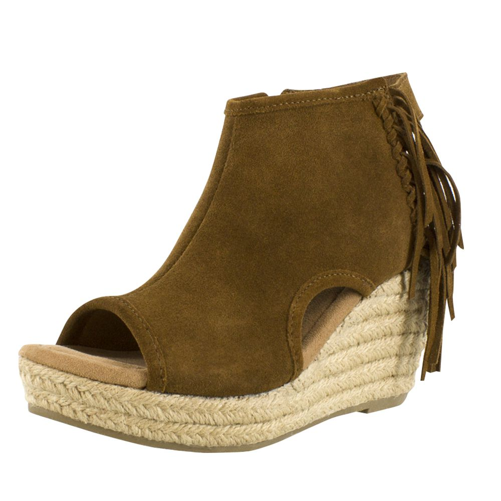 Minnetonka Womens Dusty Brown Blaire Fringe Wedges by MINNETONKA