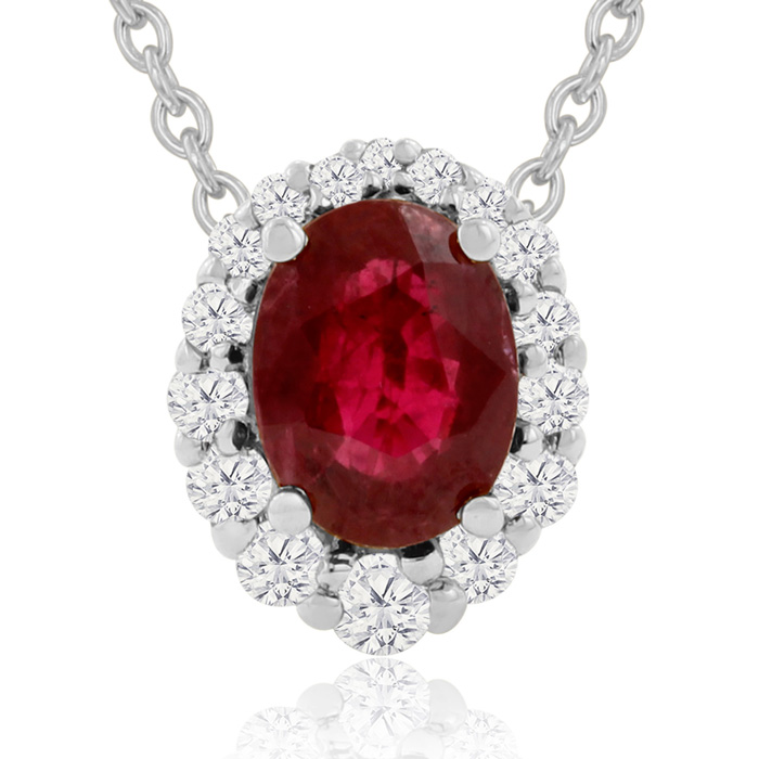 2.90 Carat Fine Quality Ruby And Diamond Necklace In 14K White Gold by SuperJeweler
