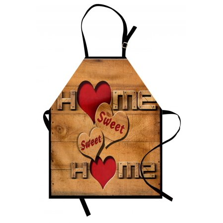 Home Sweet Home Apron Words with Heart Shapes on Wooden Planks Log Cabin Country House, Unisex Kitchen Bib Apron with Adjustable Neck for Cooking Baking Gardening, Pale Brown Red Black, by Ambesonne