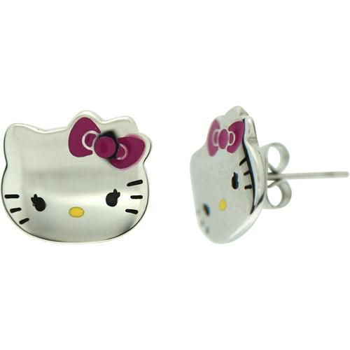 Hello Kitty Stainless Steel Enamel Winking Stud Earrings