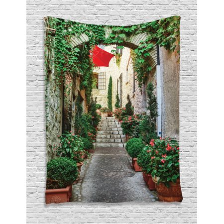 Rustic Tapestry Wall Hanging Narrow Street with Flowers Rural Wine Town in Southern France Provinces Archway Photo, Bedroom Living Room Dorm Decor, Grey Green, by Ambesonne