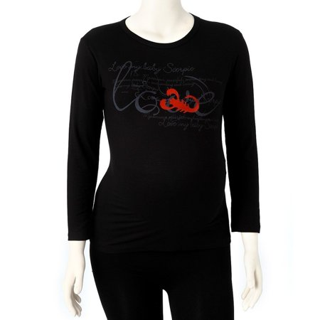 Pregnant Belly Fake (Love My Belly Women Black Scorpio Long Sleeve Zodiac Maternity T-shirt One)