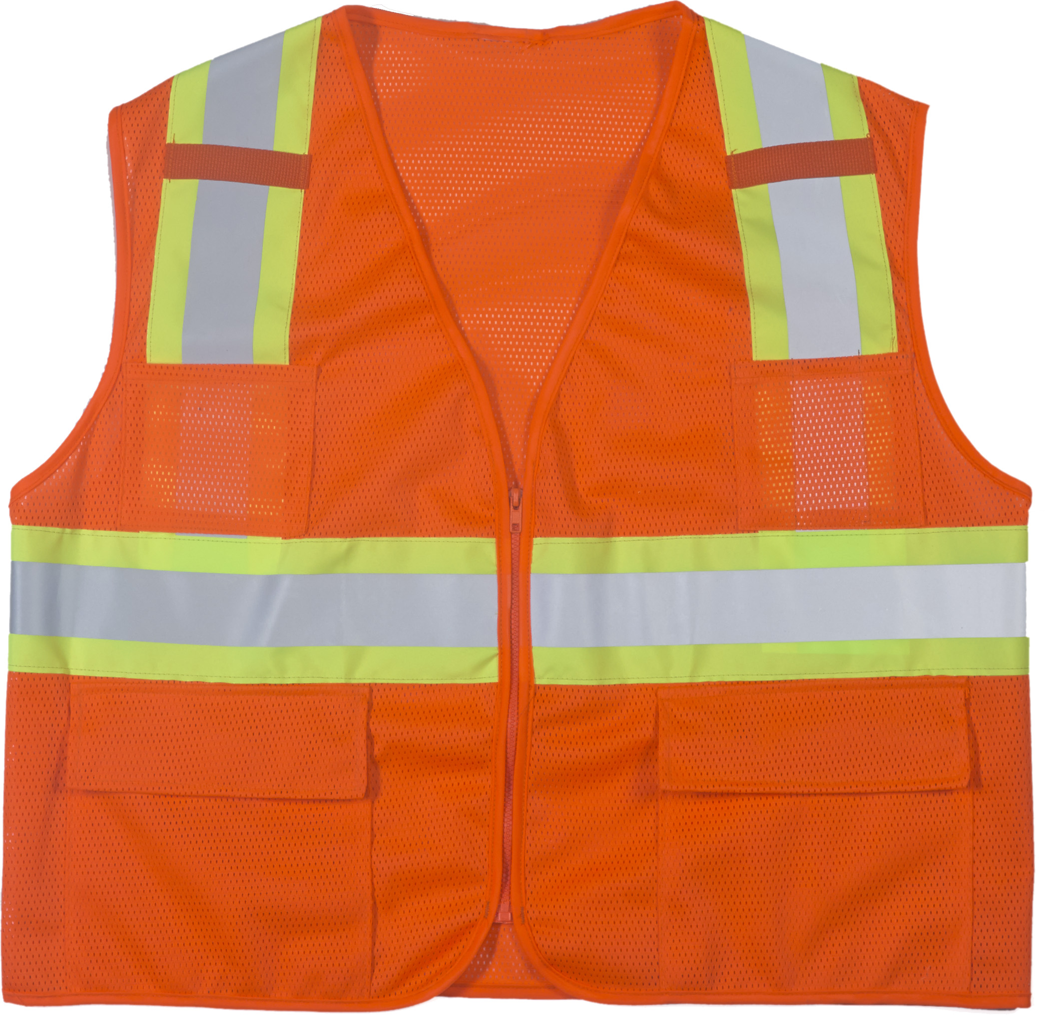 "High Visibility Polyester ANSI Class 2 Surveyor Safety Vest with Pouch Pockets and 4"" Lime/Silver/Lime Reflective Tape, 2X-Large, Orange"