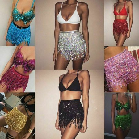 Women Tassel Sequin Glitter Summer Beach Sexy High Waist Skirt Clubwear