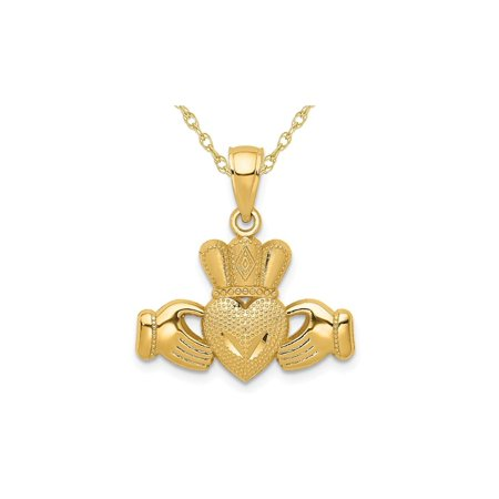 14K Yellow Gold Polished and Textured Claddagh Pendant Necklace with Chain - image 3 of 3