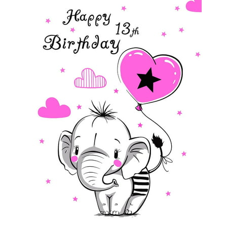 Happy 13th Birthday Notebook Journal Diary 105 Lined Pages Cute Elephant