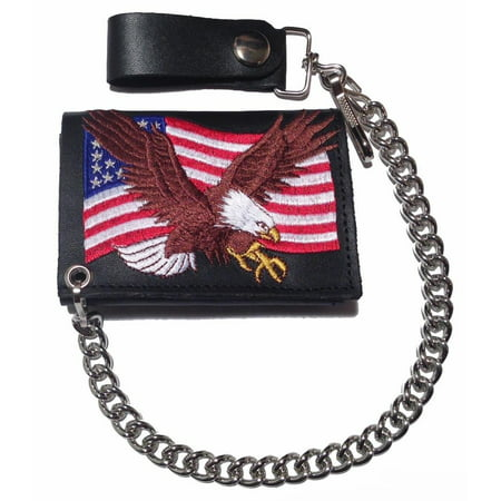 Embroidered Flying Eagle / US Flag Leather Trifold Chain Wallet USA Made (Eagles Tri Fold Wallet)