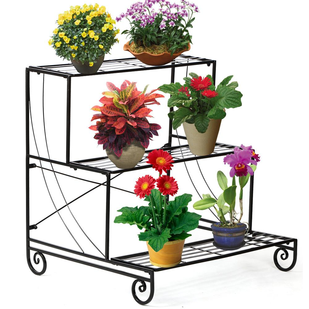 Topeakmart Garden Decorative Planter Holder Flower Pot Shelf Rack 3 Tier Metal Plant Stand... by Topeakmart