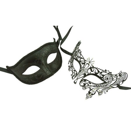 Couple Venetian Masks - Black His and Her Luxury Laser Cut Masks with Crystals