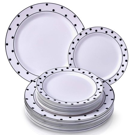 PARTY DISPOSABLE 40 PC DINNERWARE SET | 20 Dinner Plates and 20 Salad or Dessert Plates | Heavyweight Plastic Dishes | Elegant Fine China Look | for Upscale Wedding and Dining (Dots– Black/White) (Halloween Dinner Party Dishes)