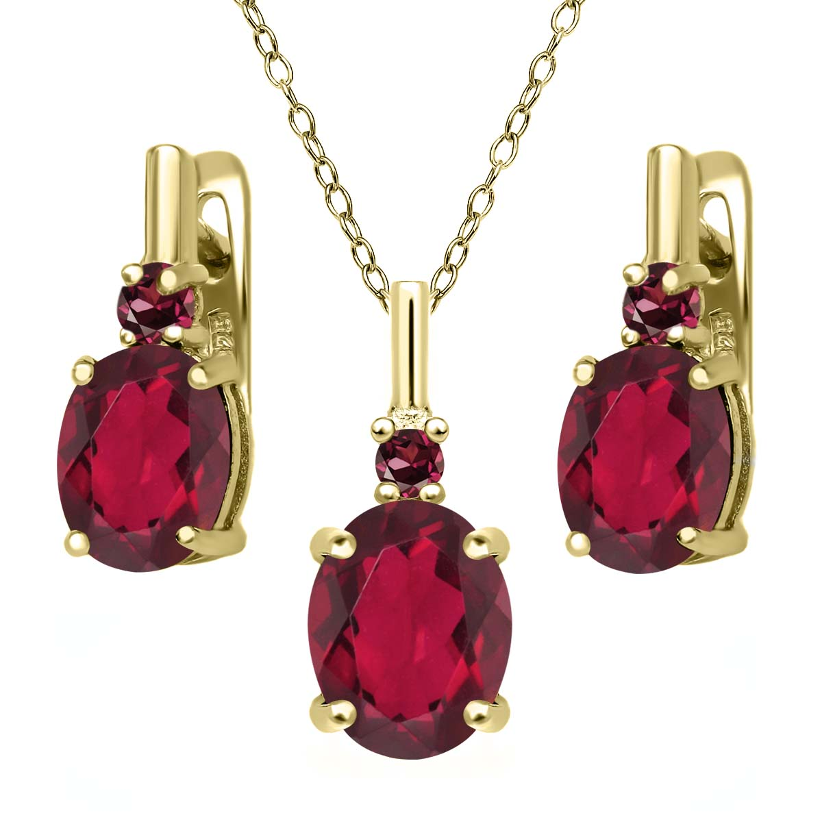 6.99 Ct Red Mystic Quartz Red Rhodolite Garnet 18K Yellow Gold Plated Silver Pendant Earrings Set by