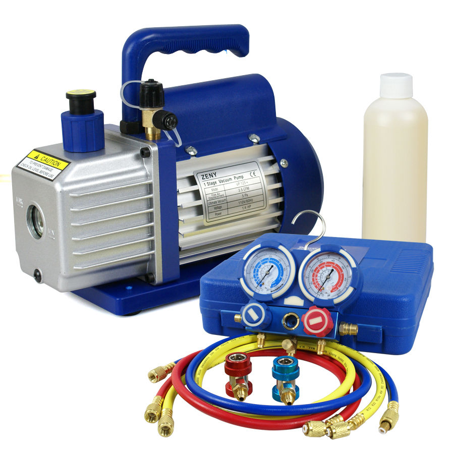 R134A Kit AC A//C Manifold Gauge Set Combo 3,5CFM 1//4HP Air Vacuum Pump HVAC