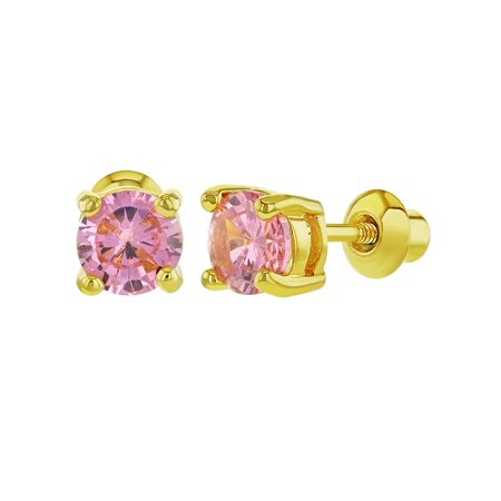 18k Gold Plated Prong Set Pink Crystal Screw Back Small Round Girls Earrings 5mm