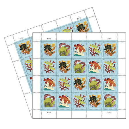 Coral Reefs POSTCARD 2 Sheets of 20 USPS First Class Forever POSTCARD Postage Stamps Sea (40 Stamps)