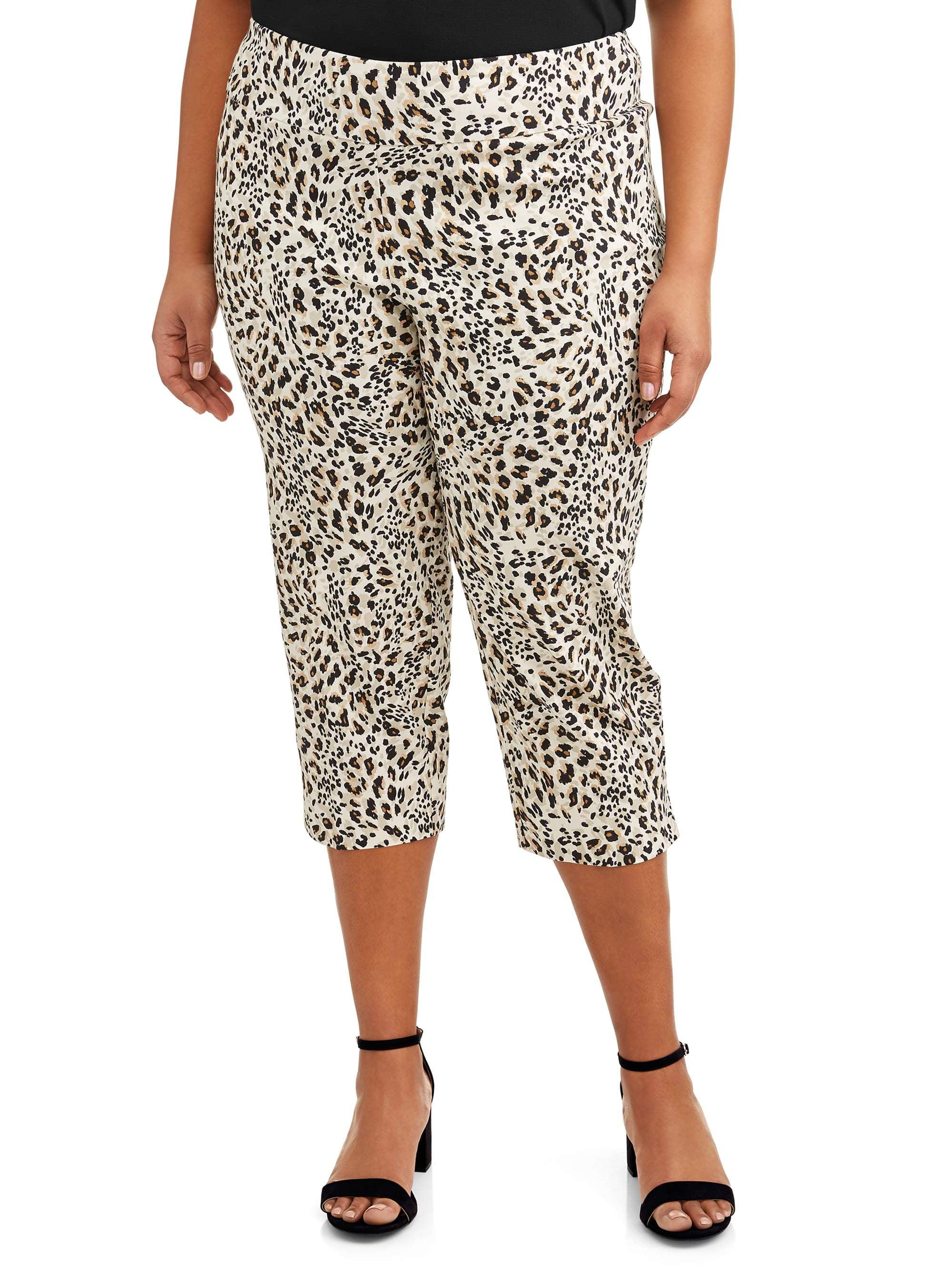Women's Plus Size Leopard Print Cropped Pant