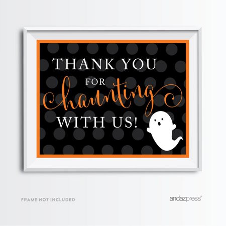 Thank You For Haunting With Us Black & Orange Classic Halloween Party - Orange And Black Nail Designs For Halloween