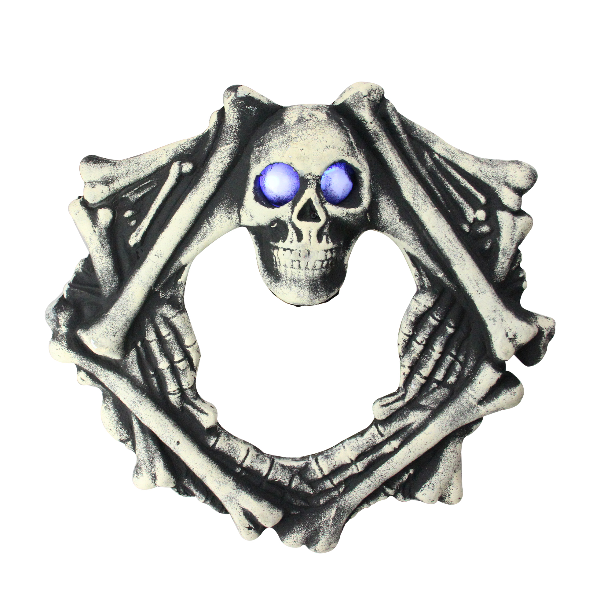 """18.5"""" Blue Lighted Eyes in Skull Head and Skeletal Body Wreath Halloween Decoration"""