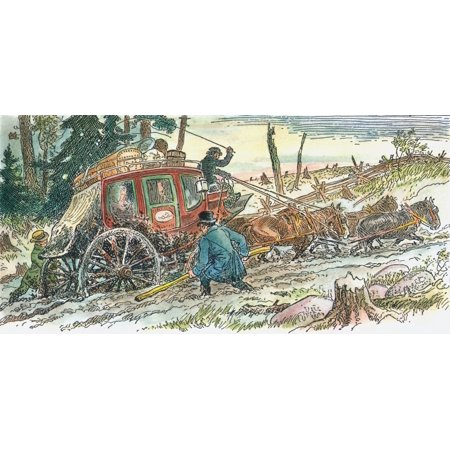 Frontier Mail Coach C1830 Na Mail Coach Makes Its Way Over Muddy Roads On The Canadian Frontier C1830 Illustration By Cw Jefferys Rolled Canvas Art     18 X 24