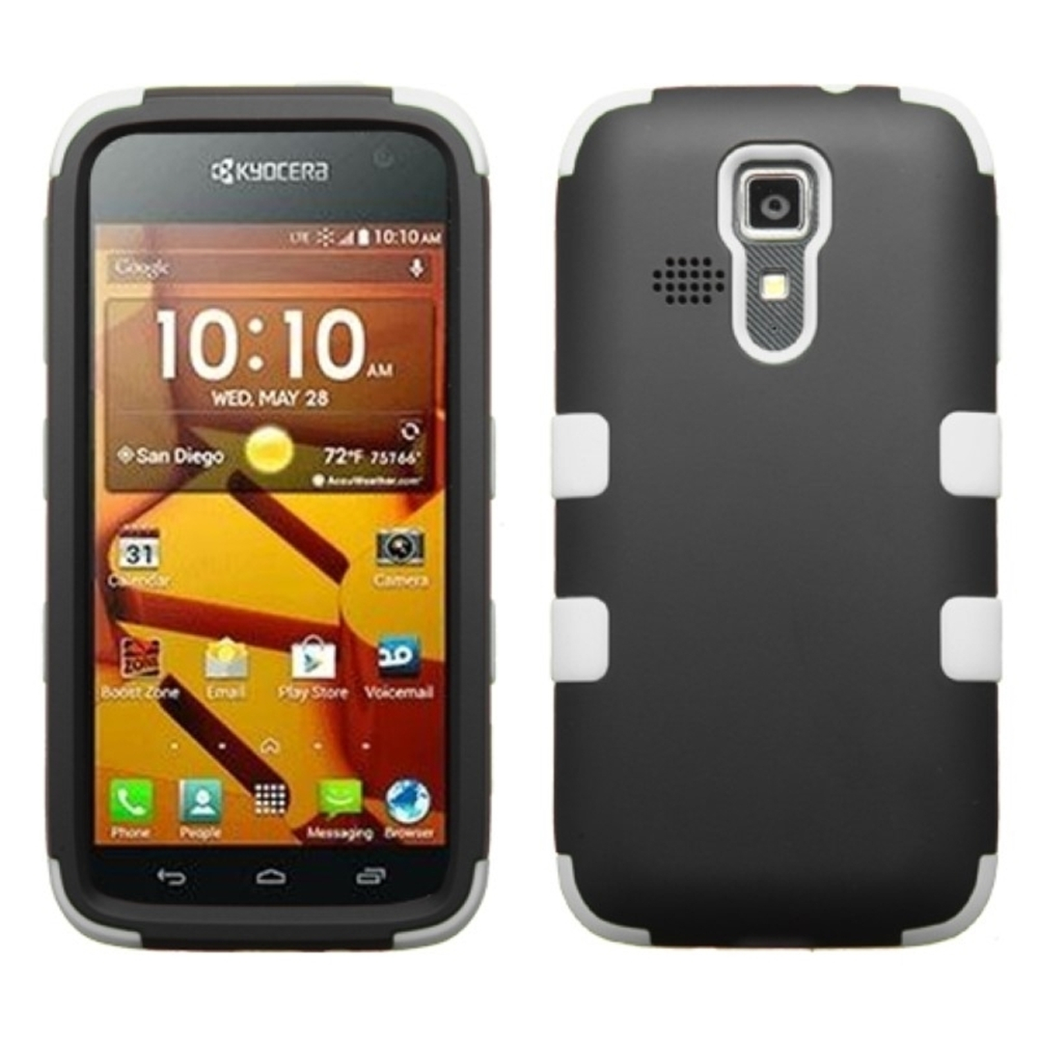 Insten Black/Solid White TUFF Hybrid Rugged Hard Shockproof Case For Kyocera Hydro Life C6530 Icon 6730