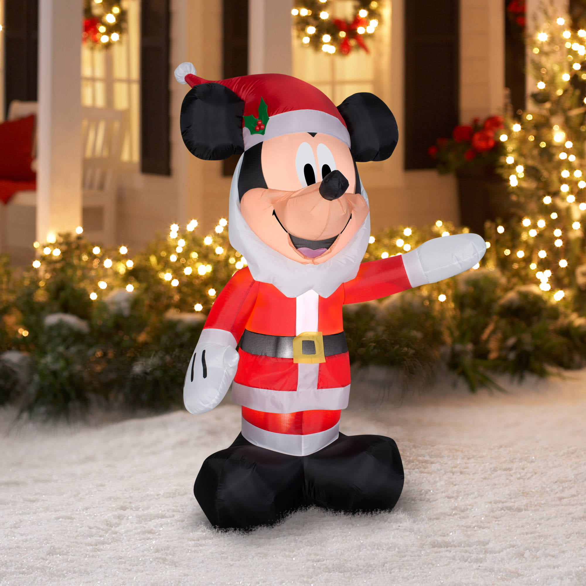5 airblown inflatable mickey as santa with beard christmas inflatable walmartcom - Disney Inflatable Christmas Decorations