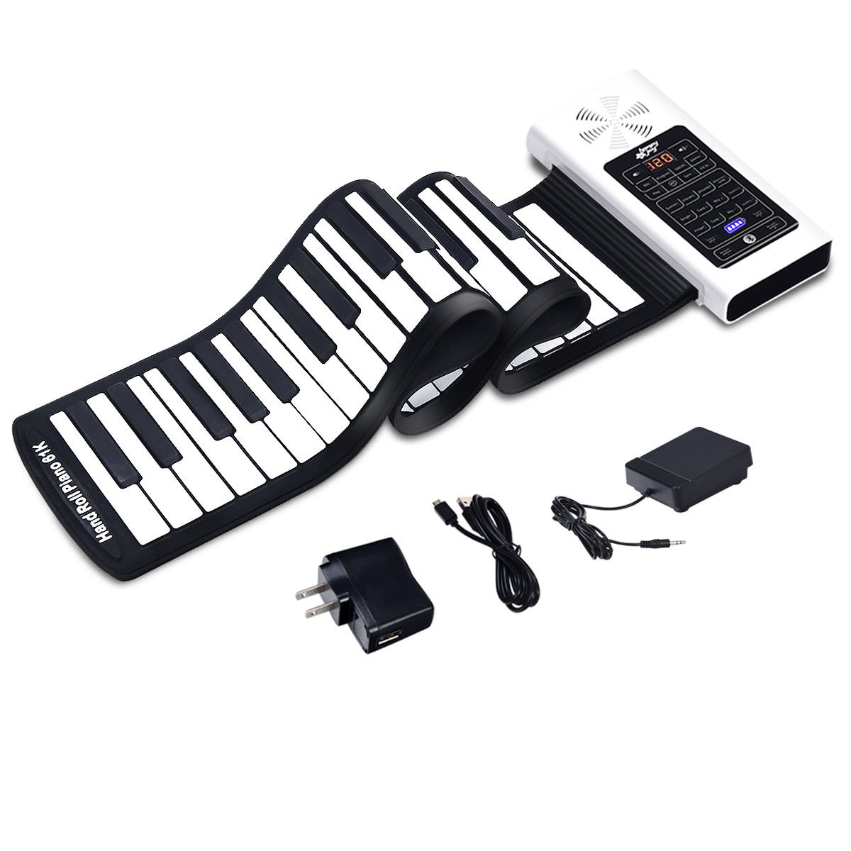 61 Key Electronic Roll Up Piano Keyboard Silicone Rechargeable Bluetooth W Pedal Walmart Com Walmart Com