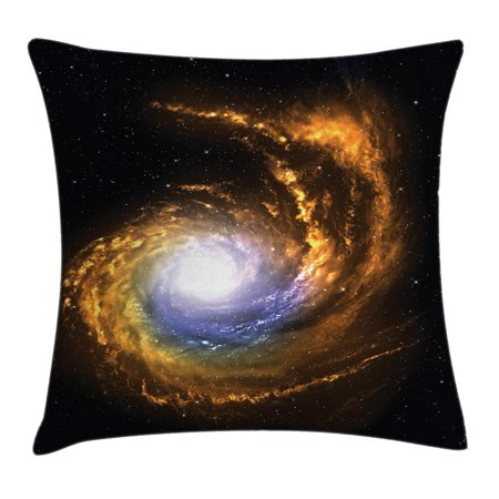 Galaxy Throw Pillow Cushion Cover  Nebula Cloud With Cosmic Rays Galactic Sparks Exploring Celestial Bodies Space Art  Decorative Square Accent Pillow Case  24 X 24 Inches  Orange Black  By Ambesonne