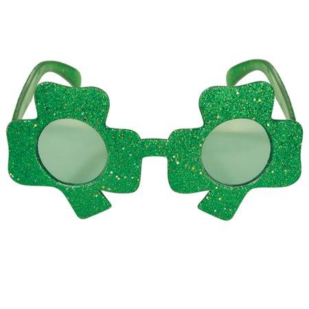 Pack of 6 Green Glittered Shamrock Fanci-Frame Eyeglass Party Favor Costume Accessories