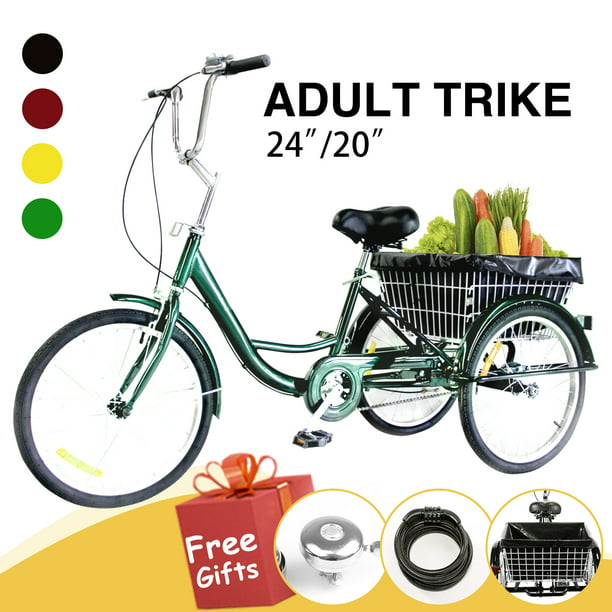 """20/"""" Adult Tricycle 3-Wheel Trike Cruiser Bicycle w//Basket for Shopping USA STOCK"""