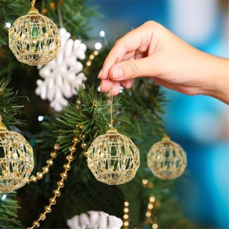 6 pcs Glitter Scale Christmas Baubles Xmas Tree Ornament Ball Christmas Decor - image 1 of 5