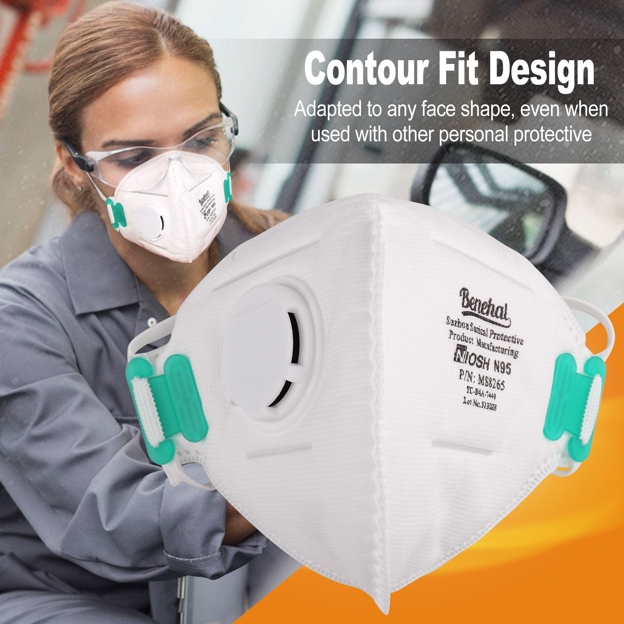 With Mask Pollution Respirators N95 Air 10pcs Particulate