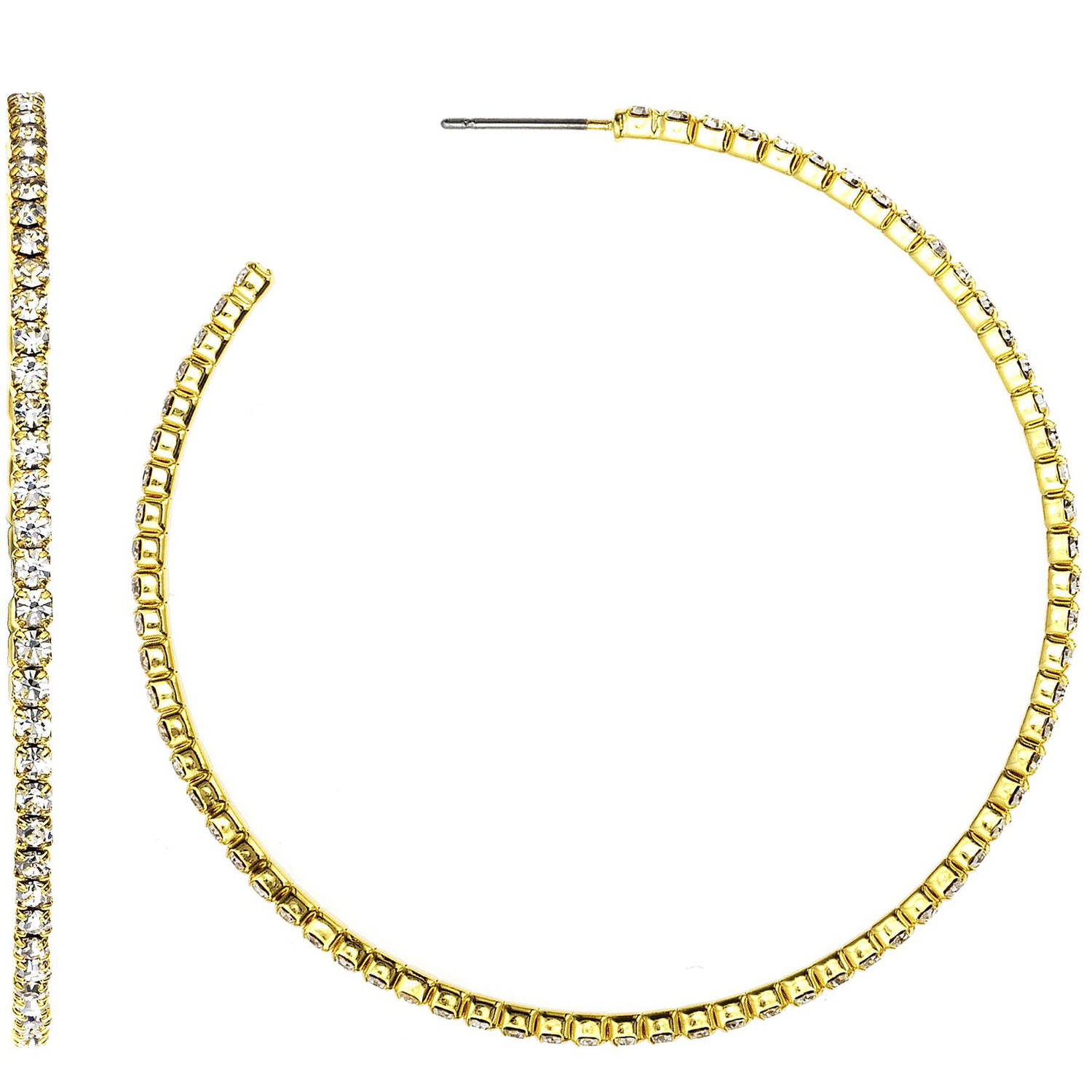 X & O Handset Austrian Crystal 14kt Gold-Plated 55mm Hoop Earrings