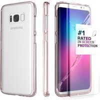 SaharaCase Galaxy S8 Clear Case, Clear Protection Kit with ZeroDamage Tempered Glass – Rose Gold