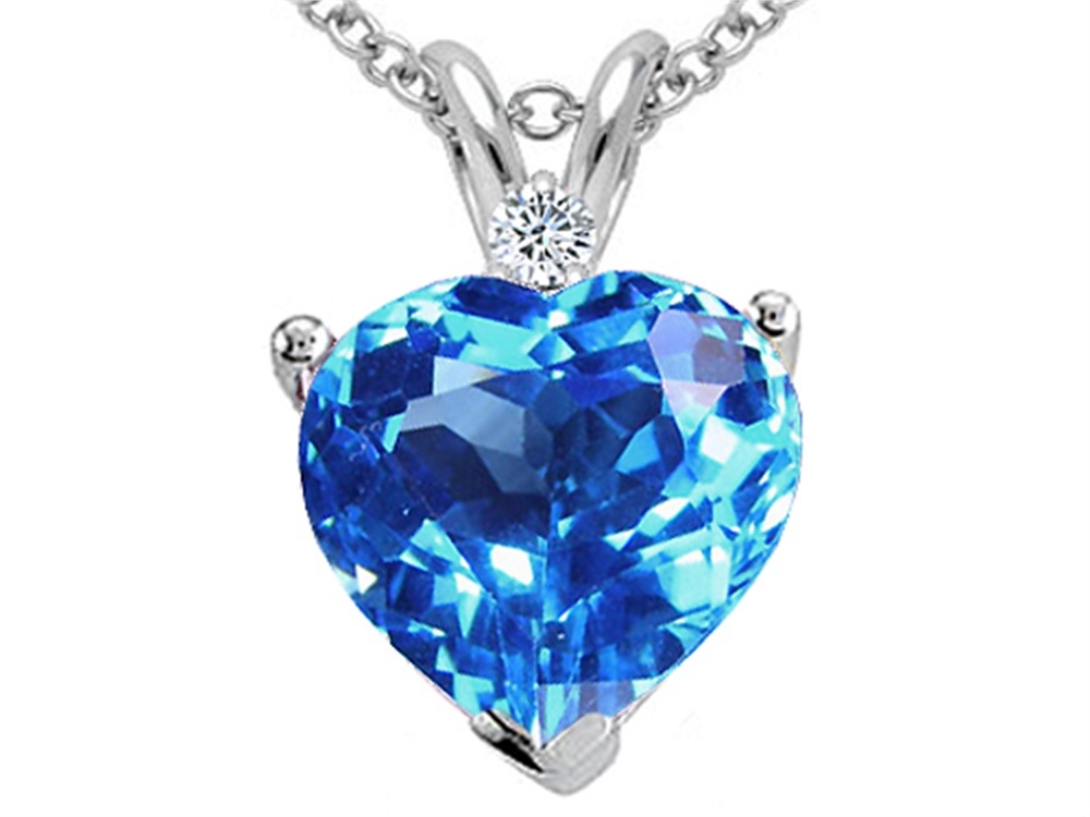 Tommaso Design Genuine Blue Topaz 8mm Heart Pendant Necklace by