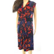 Miraclesuit NEW Blue Women's Size 8 Floral Print Ruched Sheath Dress